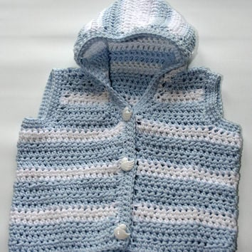 newborn baby crochet hoodies, fun baby waistcoat vest, crochet baby clothes 0 -3m, blue white cotton, funky, hoody, handmade babies clothing