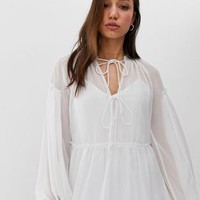 ASOS DESIGN Tall sheer smock top with tie front | ASOS