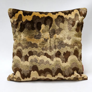 Exclusive Velvet Pillow Cover - handmade from vintage upholstery fabrics, OAK - brown, beige
