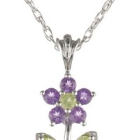 Sterling Silver Peridot and Amethyst Flower Pendant Necklace
