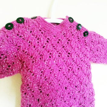Baby Girl Sweater // Baby Knits // Sparkly Sweater // Baby Jumper