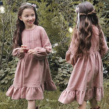 2018 Spring Autumn Vintage Long Maxi Dress For Girl Lace Pacthwork Lantern Sleeve Princess Dresses Kids Clothes For Party