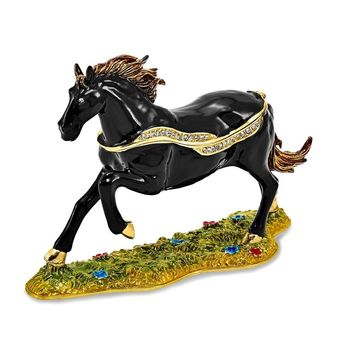 Bejeweled Black Stallion Trinket Box with Charm Pendant