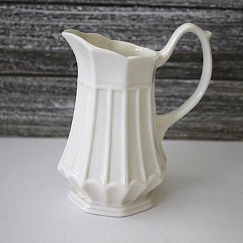 DOLLHOUSE Miniatures 1:12 Miniature Scalloped White Porcelain Pitcher Tall