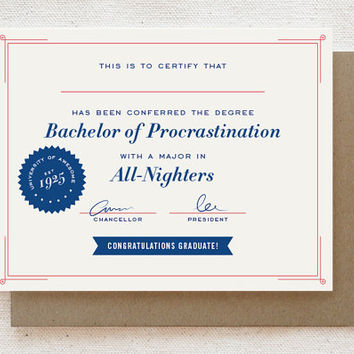Funny Graduation Card - Bachelor of Procrastination - Funny congratulations card for friend funny Humorous card Grad card Congrats card