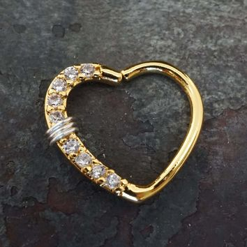 Yellow Gold Crystal Heart Hoop Daith Rook Cartilage Tragus Hoop Earring