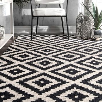 nuLOOM Handmade Abstract Wool Fancy Pixel Trellis Rug (5' x 8') | Overstock.com Shopping - The Best Deals on 5x8 - 6x9 Rugs