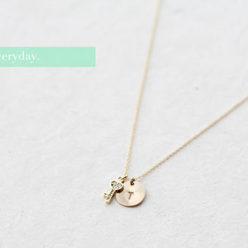 Heart Key & Initial Necklace (Gold) - monogram, personalized, initials, letter, hand stamped, heart, bridesmaid