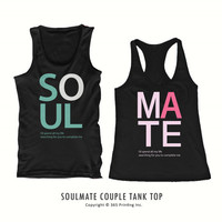 Cute Matching Sleeveless Typography Shirts - Soul Mate Tank Tops for Couples