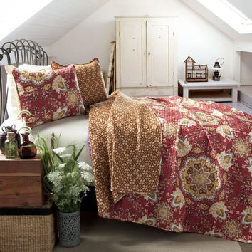 Breklyn Boho Bohemian Mandala Red 3 Piece Quilt Bedding SET