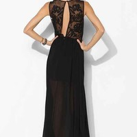 Keepsake Desert Rose Chiffon Maxi Dress- Black