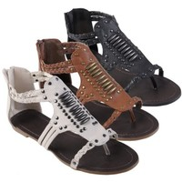 Brinley Co Womens Studded Gladiator Sandals