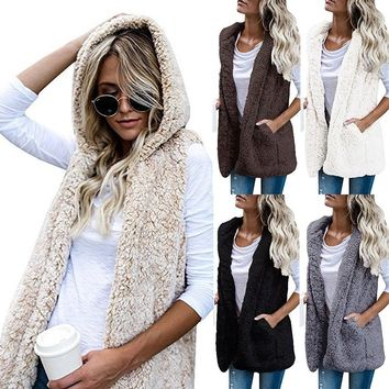 5 Color 2018 Winter Spring Women Casual Top Pure Color Sleeveless Faux Fur Vest Polar Fleece Cardigan Coat Ladies Fashion Plus Size Loose Mohair Flocking Hoodies Fur Short Jacket Hood Lady Fashion Winter Warm Solid Color Pocket Woolen Hooded Coat
