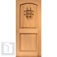 Rustic Exterior Single Door Arch Panel, Operable Speakeasy, Solid Wood