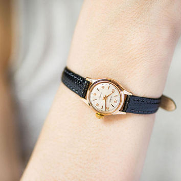 Gold plated women's watch Glory, vintage lady wristwatch gift, classic women's watch small, retro watch unique, new luxury leather strap