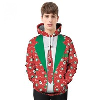 2017 autumn and winter Christmas theme suit printing printing hooded 3D sweater
