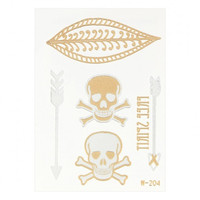Skeleton Arrow Leaf Metallic Temporary Body Tattoo Sticker