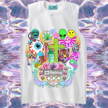 UNISEX Reblog 90s Kawaii Seapunk Tumblr Muscle Tee // Pastel Grunge // Lisa Frank x Sailor Moon x Zelda // fASHLIN