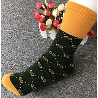 GUCCI Fashion Women Men Simple G Letter Cotton Socks Yellow