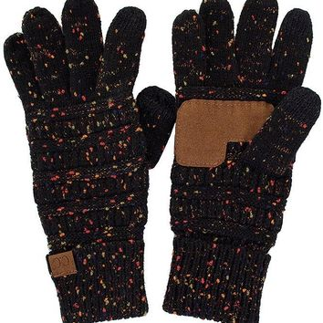 Knitted Gloves - Confetti Black