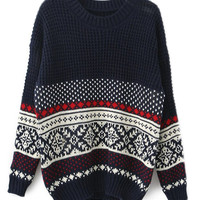 ROMWE | ROMWE Christmas Sweater Heart & Geometric Pattern Knitted Blue Jumper, The Latest Street Fashion