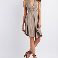 BELTED CUT-OUT PLUNGE DRESS