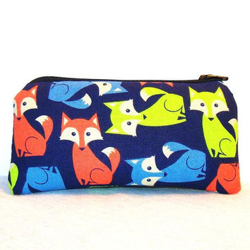 "Neon Foxes on Blue Cotton Padded Pipe Pouch 5.5"" / Glass Pipe Case / Spoon Cozy / Piece Protector / Pipe Bag / SMALL"