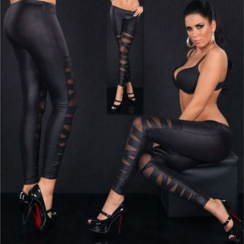 Women European and American fashion leather cross bundled perspective mesh leggings [8833452236]
