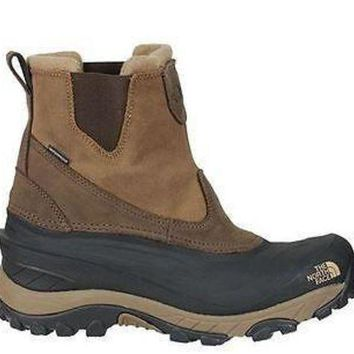 ICIKIJG The North Face Mens Chilkat II Pull-On Boots Demitasse Brown Waterproof