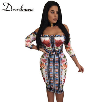 Dear lover Off The Shoulder Dress For Women Diamond Floral Print Half Sleeve Midi African dresses Autumn Women's Bodycon LC61328