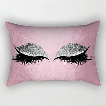 Creative Eyelash Polyester Pillow Case Waist Throw Home Decor