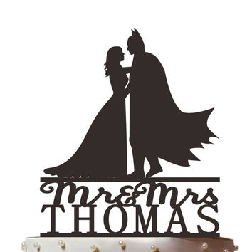 Bridal Shower Topper, Wedding Cake Topper, Personalized Cake Topper, Batman Cake Topper,Batman and bride Silhouette,  CT031