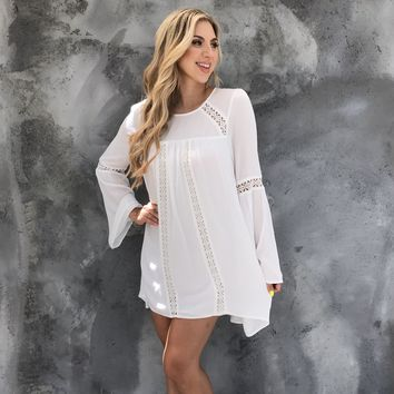 White Night Long Sleeve Dress