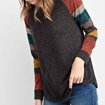 Step On Up Striped Sleeve Top