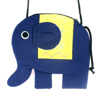 Elephant Shaped Animal Shoulder Bag in Dark Blue and Yellow | DOTOLY