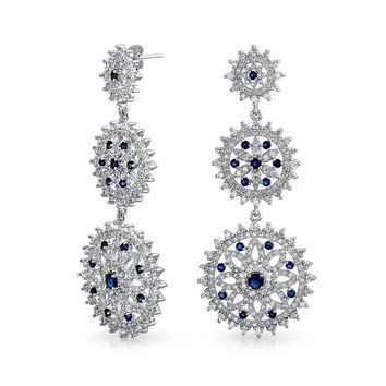 Blue Pave CZ Round Prom Statement Dangle Earring Silver Plated