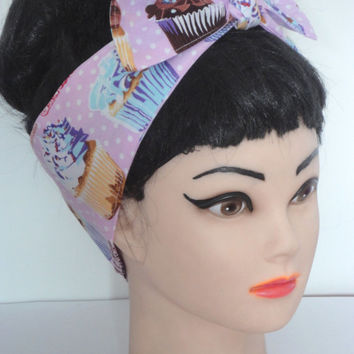 Rockabilly Headscarf Bow  CUPCAKES  Pinup  Headband Vintage Retro Style 50s Head Wrap Scarf