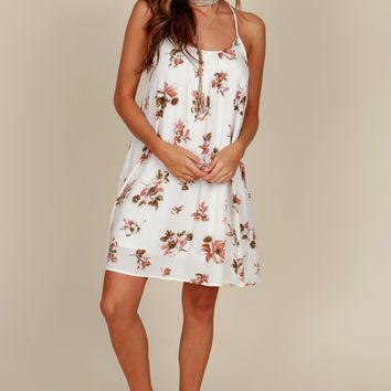 Tropical Breeze Print Dress Ivory