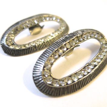 Vintage Shoe Clips Oval Rhinestone Antiqued Silver Tone Clips Vintage Retro Fashion Mid Century Style Evening Formal Shoe Clips