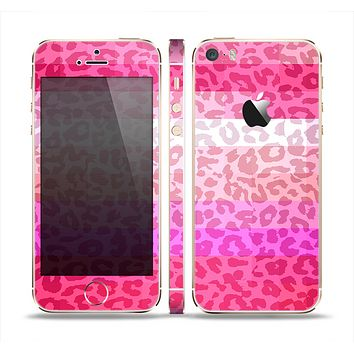 The Hot Pink Striped Cheetah Print Skin Set for the Apple iPhone 5s