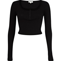 River Island Womens Black rib long sleeve crop top