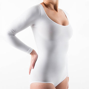 Stella Alcaraz White Long-Sleeve Shaper Bodysuit - Women & Plus | zulily