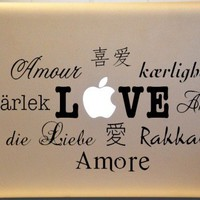 LOVE in Many Languages MACBOOK MAC Vinyl Decal Spanish French Italian