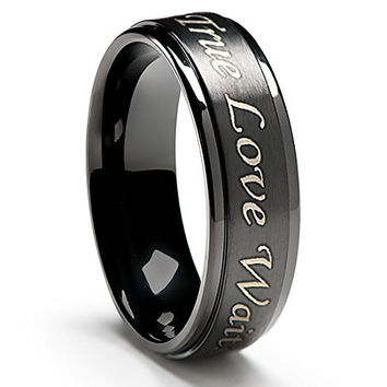 True Love Waits Purity Ring in Titanium Black Plated (6mm wide) - Men's & Women's Sizes