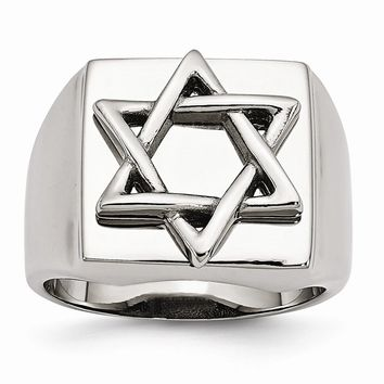 Men's Stainless Steel Star of David Ring