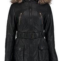 Demi Leather Look Belted Hooded Parka