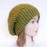 Beret style slouch hat olive green slouchy beanies hats women knitted irish handknit