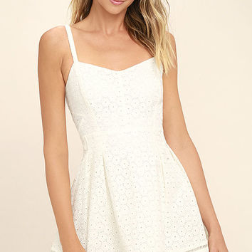 Jack by BB Dakota Gaines Ivory Lace Skater Dress