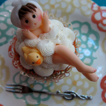 Lovely Bath Time Cupcake Toppers 6 girls by mimicafeunion on Etsy