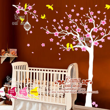 Cherry flower wall decals nursery wall decal vinyl wall decal Tree and birds Baby girl gifts - tree birds cat Z232 cuma